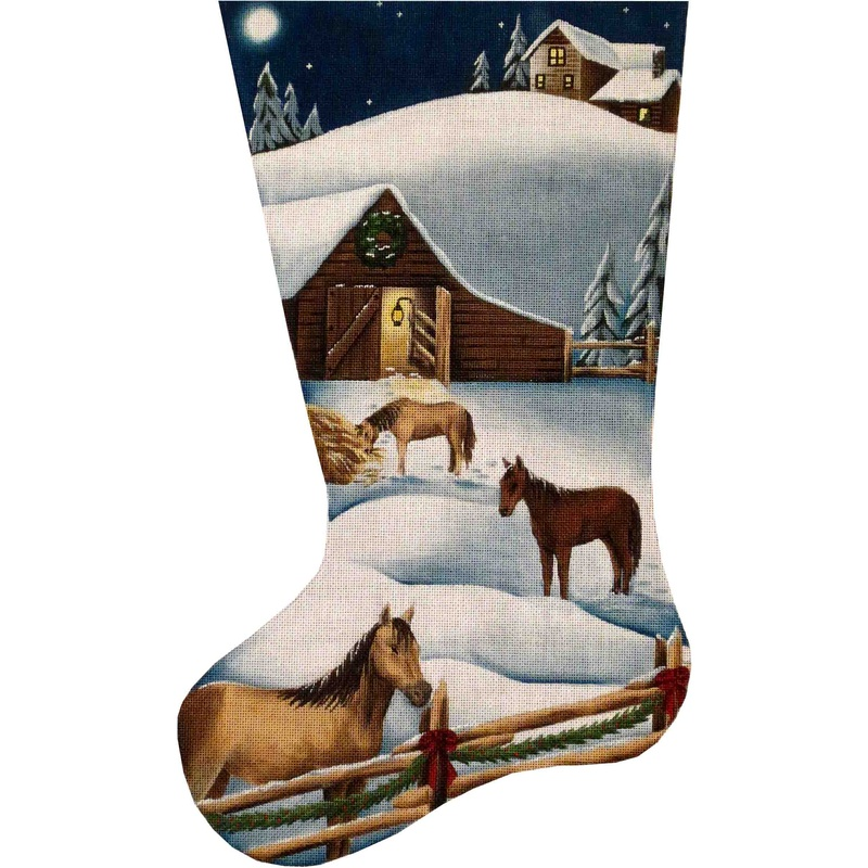 click here to view larger image of Christmas Barn Stocking - 13ct (hand painted canvases)