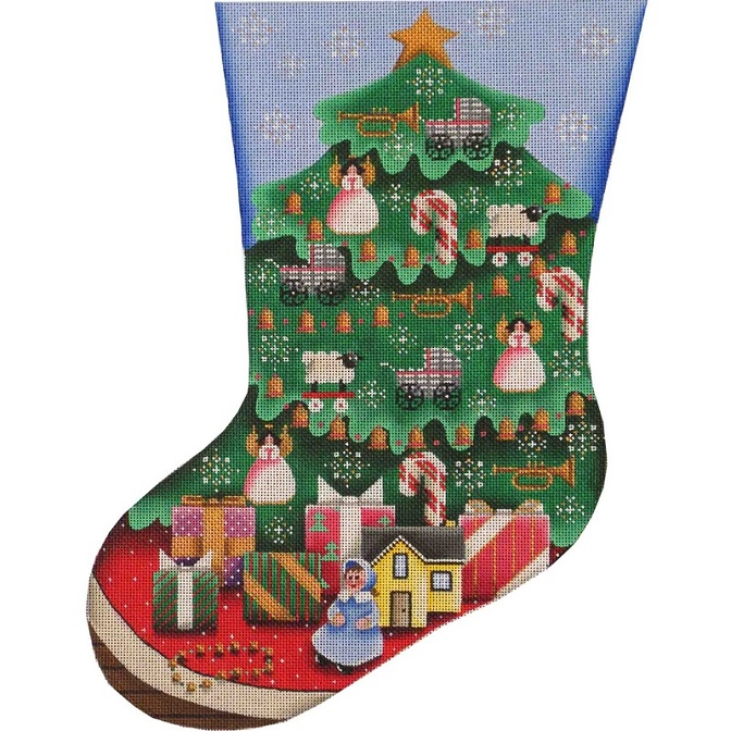 click here to view larger image of Doll Tree Stocking - 13ct (hand painted canvases)