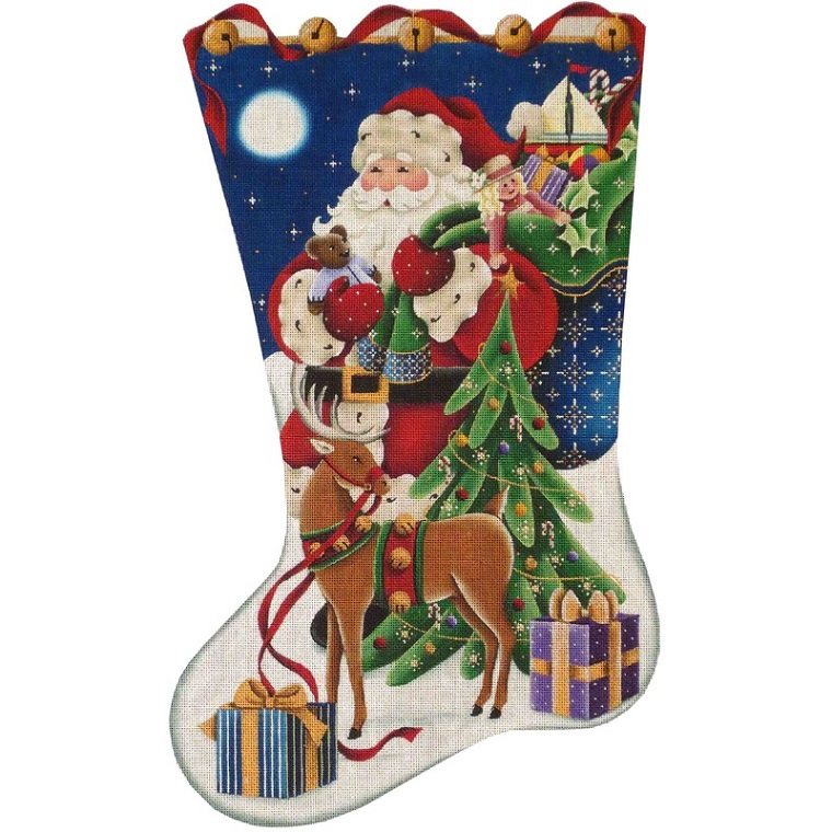click here to view larger image of Christmas Eve Stocking - 13ct (hand painted canvases)