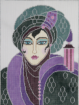 click here to view larger image of Turban Lady (hand painted canvases)