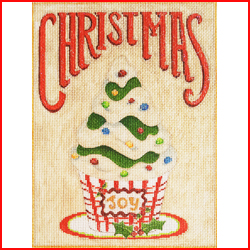 click here to view larger image of Christmas Cupcake (hand painted canvases)