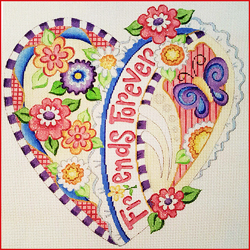 click here to view larger image of Friends Forever Heart (hand painted canvases)