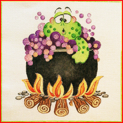 click here to view larger image of Frog In Bubbling Cauldron (hand painted canvases)