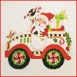 click here to view larger image of Santa With Christmas Car (hand painted canvases)