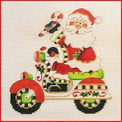 click here to view larger image of Santa With Christmas Scooter (hand painted canvases)