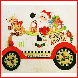 click here to view larger image of Christmas Car Santa (hand painted canvases)