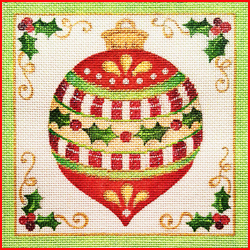 click here to view larger image of Christmas Ornament Square (hand painted canvases)