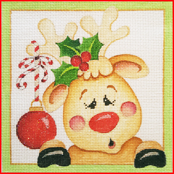 click here to view larger image of Christmas Reindeer Square (hand painted canvases)