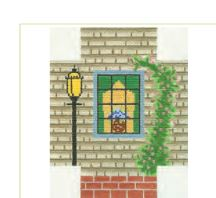 click here to view larger image of Grey Shingle Window Scene (hand painted canvases)