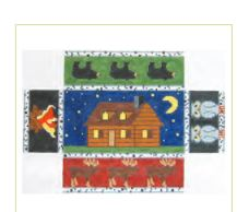 click here to view larger image of Cabin At Night Doorstop (hand painted canvases)