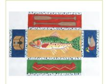 click here to view larger image of Fishing Doorstop (hand painted canvases)