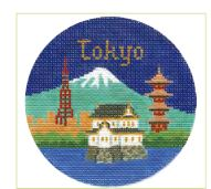 click here to view larger image of Tokyo Ornament (hand painted canvases)
