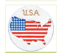 click here to view larger image of USA Ornament (hand painted canvases)