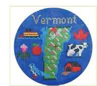 click here to view larger image of Vermont Ornament (hand painted canvases)
