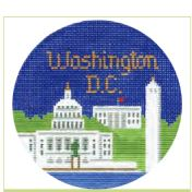click here to view larger image of Washington DC Ornament (hand painted canvases)