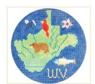click here to view larger image of West Virginia Ornament (hand painted canvases)