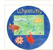 click here to view larger image of Wyoming Ornament (hand painted canvases)