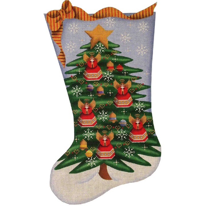 click here to view larger image of Angel Tree Stocking - 13ct (hand painted canvases)