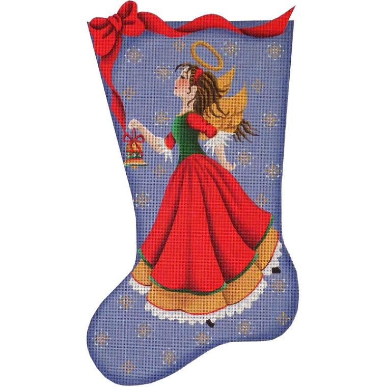 click here to view larger image of Bell Angel Stocking - 18ct (hand painted canvases)