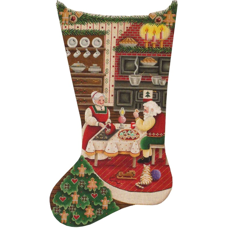 click here to view larger image of Christmas Kitchen Stocking - 13ct (hand painted canvases)
