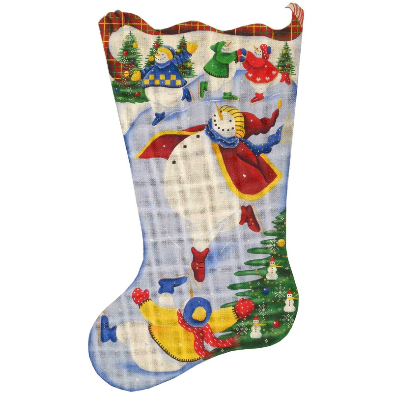 click here to view larger image of Skating Snowman Stocking - 13ct (hand painted canvases)
