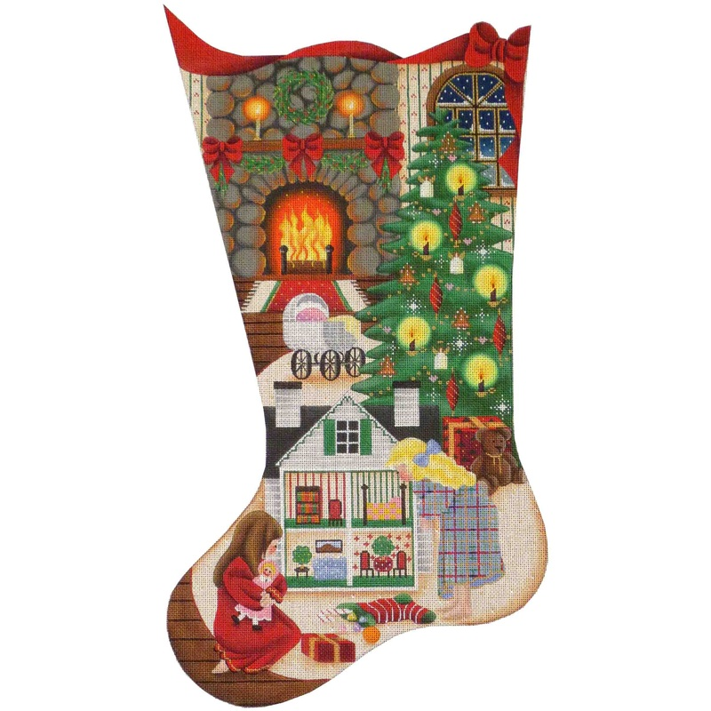 click here to view larger image of Doll House Christmas Stocking - 13ct (hand painted canvases)