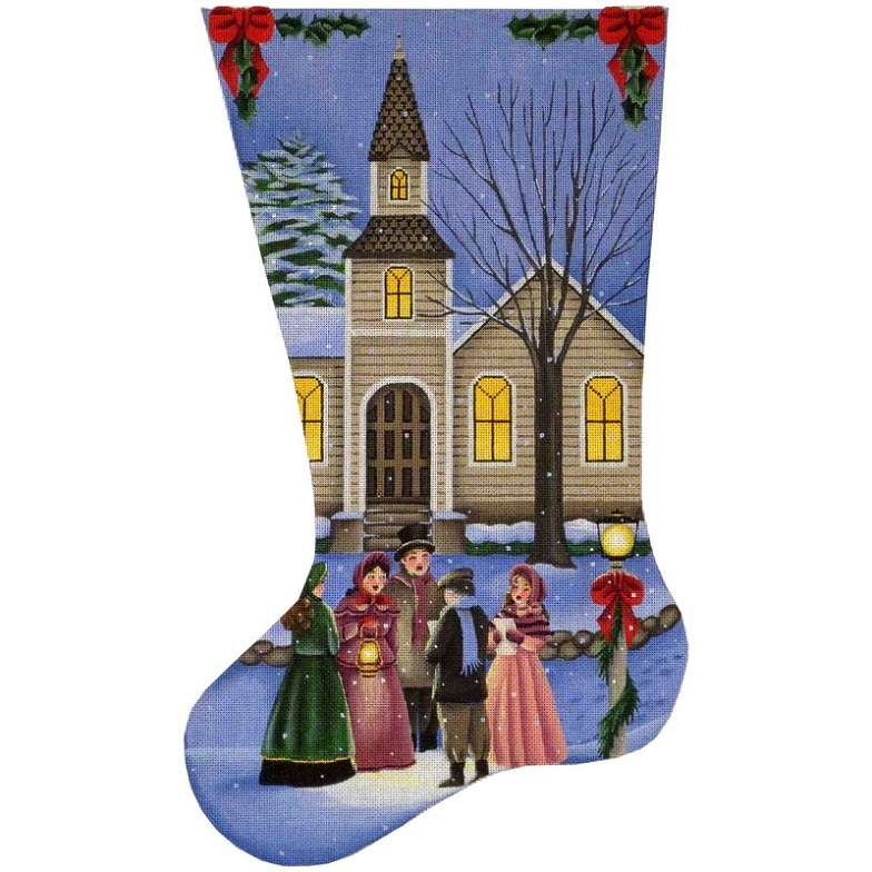 click here to view larger image of Christmas Carolers Stocking - 13ct (hand painted canvases)