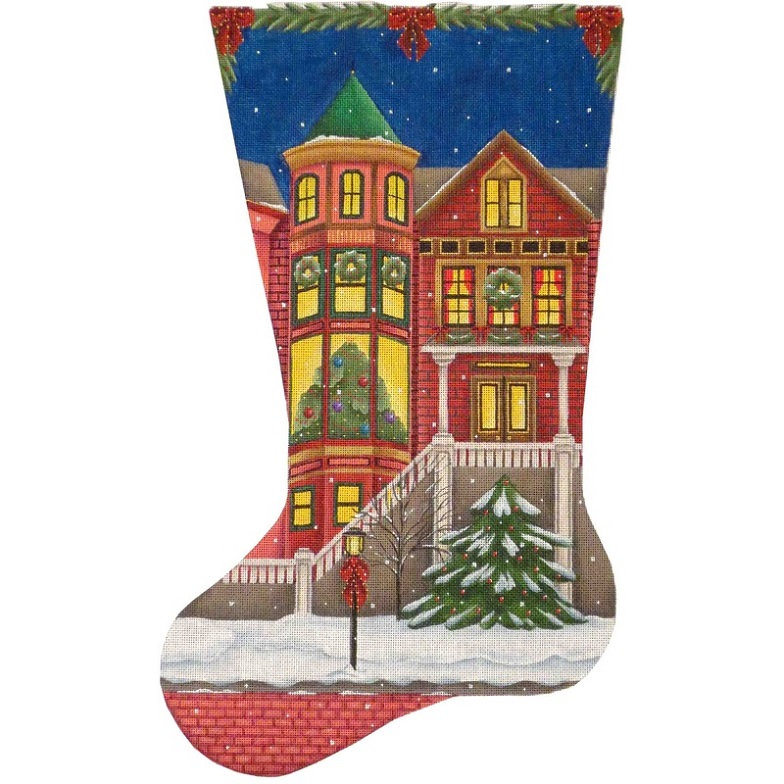 click here to view larger image of Victorian Christmas Stocking - 13ct (hand painted canvases)