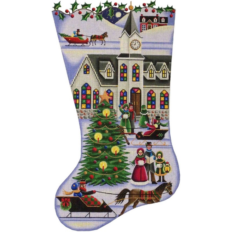click here to view larger image of Town Square Christmas Stocking - 13ct (hand painted canvases)