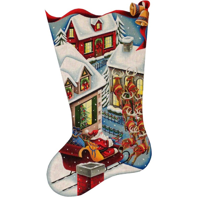 click here to view larger image of Up On The Roof Stocking - 18ct (hand painted canvases)