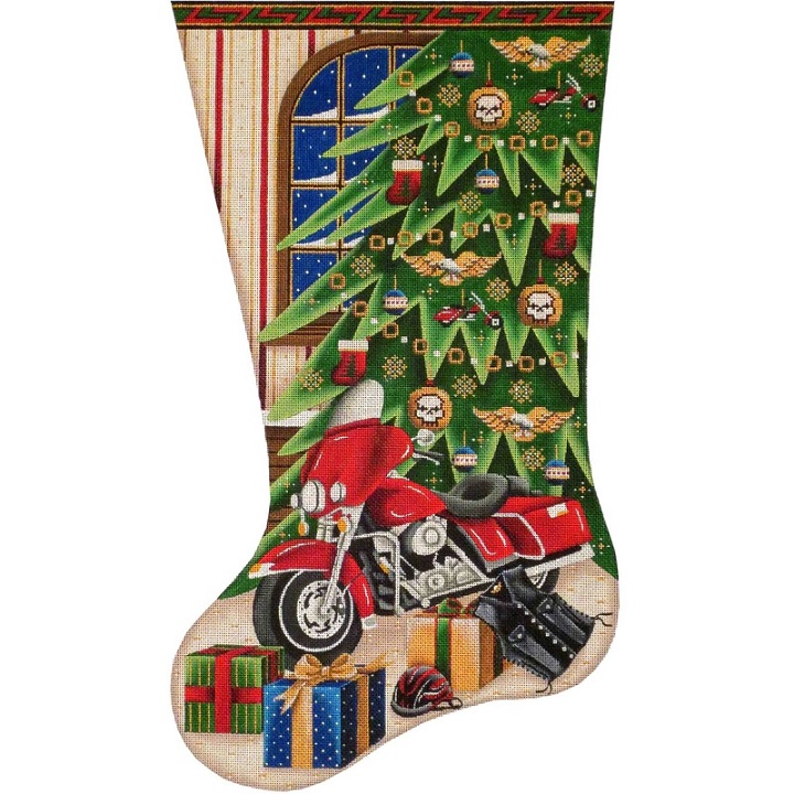 click here to view larger image of Biker Christmas Stocking - 13ct (hand painted canvases)