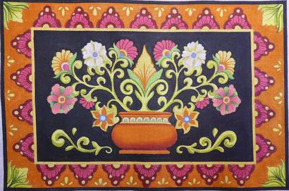 click here to view larger image of Mexican Flower Pot (hand painted canvases)