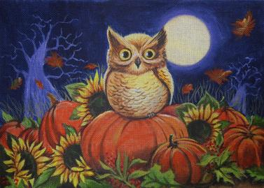 click here to view larger image of Pumpkin Patch Owl (hand painted canvases)