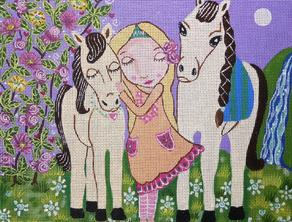 click here to view larger image of Girl Horses (hand painted canvases)