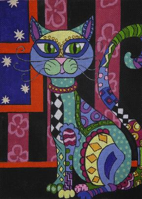 click here to view larger image of Funky Feline (hand painted canvases)