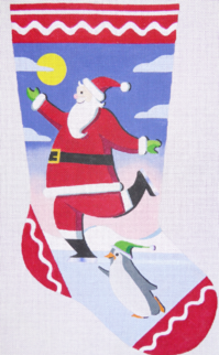 click here to view larger image of Skating Santa Stocking - 13ct (hand painted canvases)