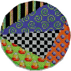 click here to view larger image of Halloween Patchwork Large Round (hand painted canvases)