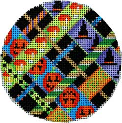click here to view larger image of Candy Corn Woven Large Round (hand painted canvases)