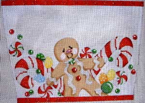 click here to view larger image of Gingerbread Boy Stocking Cuff (hand painted canvases)