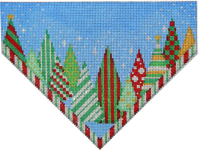 click here to view larger image of Funky Forest Stocking Top/Red/Green stripe (hand painted canvases)