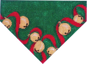 click here to view larger image of Jingle Bells/Green Ground Stocking Top (hand painted canvases)