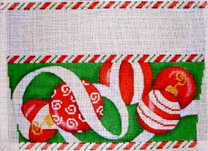 click here to view larger image of Red Ornaments/Green Background Stocking Cuff (hand painted canvases)