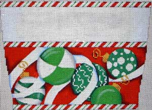 click here to view larger image of Green Ornament/Red Background Stocking Cuff (hand painted canvases)