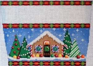 click here to view larger image of Gingerbread House Stocking Cuff (hand painted canvases)