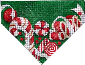 click here to view larger image of Red Candy On Green Stocking Top (hand painted canvases)