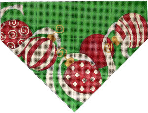 click here to view larger image of Ornaments/Green Background Stocking Top (hand painted canvases)