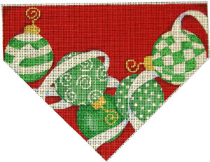 click here to view larger image of Ornaments/Red Background Stocking Top (hand painted canvases)