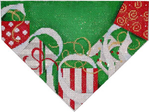 click here to view larger image of Presents/Green Background Stocking Top (hand painted canvases)