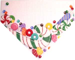 click here to view larger image of Green Candy Cane Stocking Top (hand painted canvases)