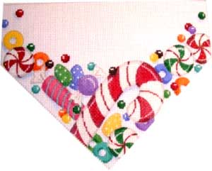 click here to view larger image of Red Candy Cane Stocking Top (hand painted canvases)